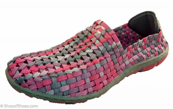 Adesso all elastic upper fun multi coloured pink summer shoe.